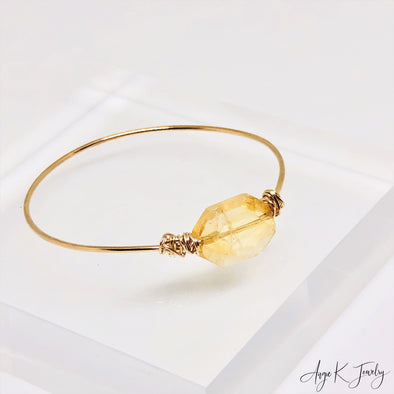 Citrine Nugget 14KT Gold Filled Bangle