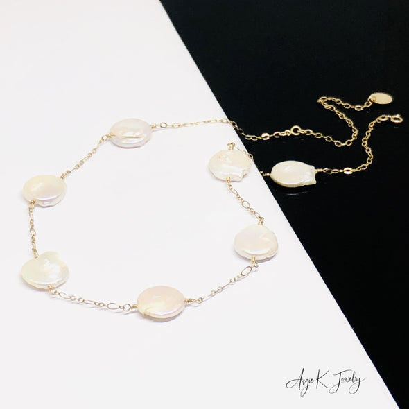 White Coin Pearls 14KT Gold Filled Necklace