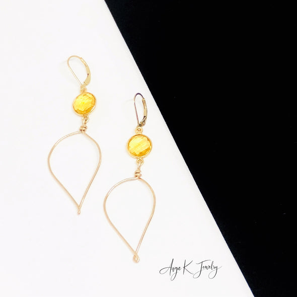 Citrine 14KT Gold Filled Leaf Earrings
