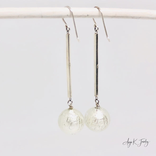Murano Glass Clear White Gold Foil Silver Earrings