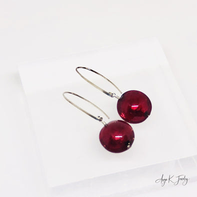 Murano Glass Ruby Red Silver Earrings