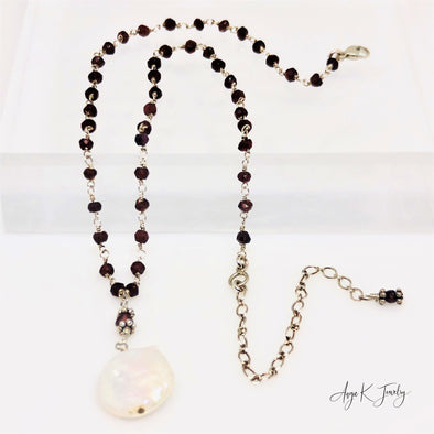 White Coin Pearl Garnet Silver Necklace