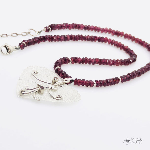 Garnet Silver Heart Necklace