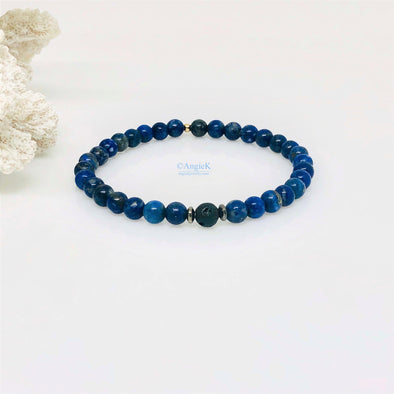 Lapis Lazuli and Black Lava Rock Bracelet