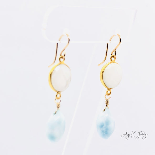 Larimar And White Mother Of Pearl 14KT Gold Filled Earrings
