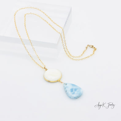 Larimar And White Mother Of Pearl 14KT Gold Filled Necklace