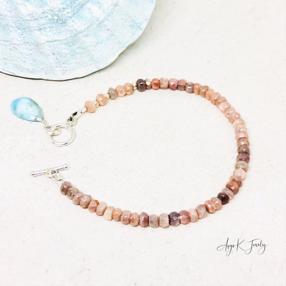 Peach Moonstone And Larimar Gemstone Silver Toggle Bracelet