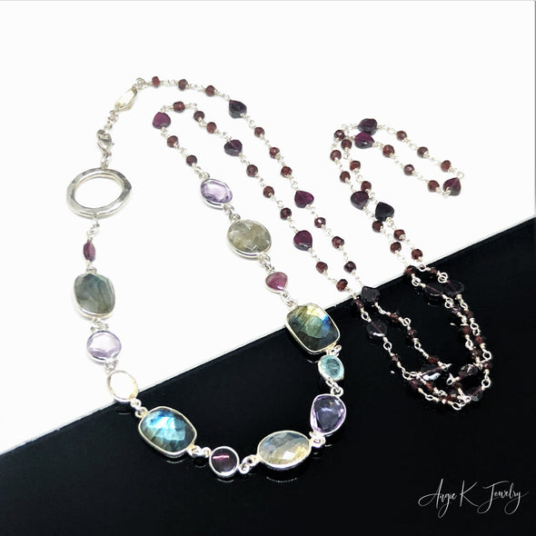 Multi Gemstone Silver Long Layering Necklace