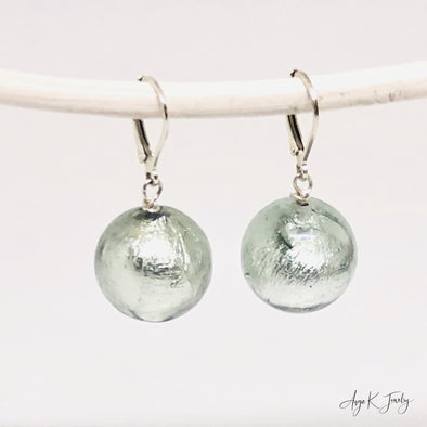 Light Steel Murano Glass Silver Earrings