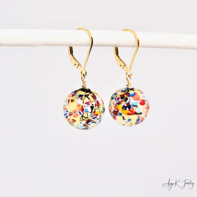 Murano Glass Klimt Mosaico 14KT Gold Filled Earrings