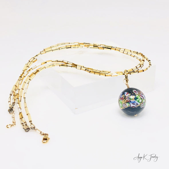 Murano Glass Black Klimt Gold Necklace