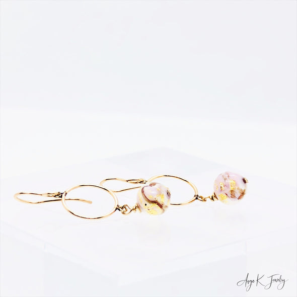 Murano Glass Pink Marble 14KT Gold Filled Earrings