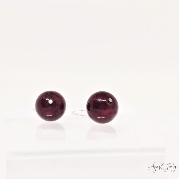 Ruby Red Murano Glass Silver Earrings