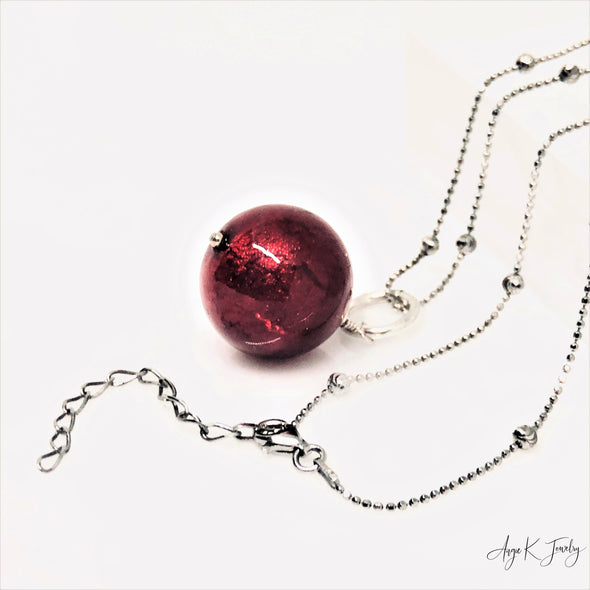 Ruby Red Murano Glass Silver Bead necklace
