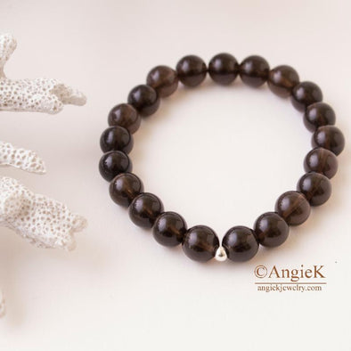 natural smoky quartz stretch bracelet