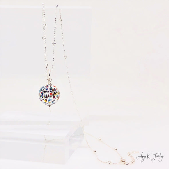 Klimt Murano Glass Silver Necklace