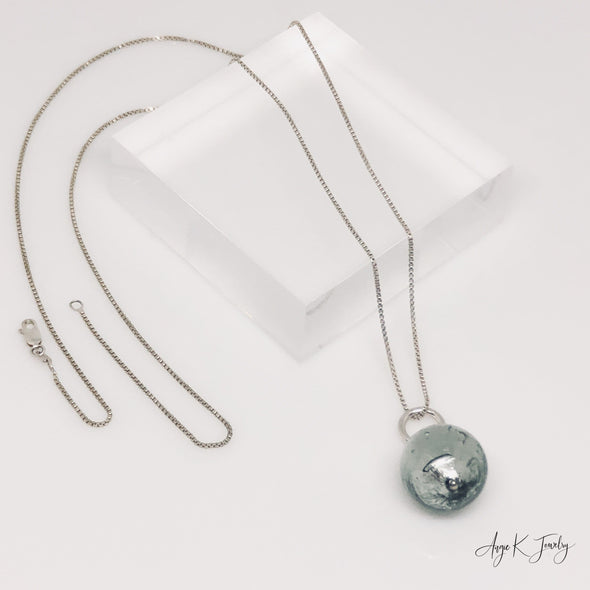 Light Steel Murano Glass Silver Necklace