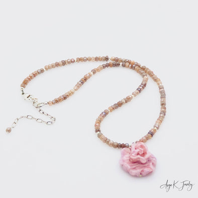 Peach Moonstone And Pink Rose Murano Glass Silver Necklace