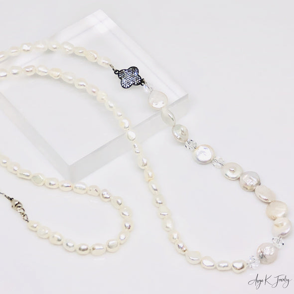 White Freshwater Pearls Long Silver Necklace