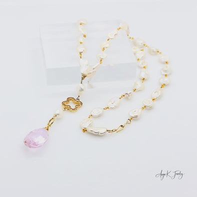 White Baroque Freshwater Pearls And Pink Topaz CZ Vermeil Necklace