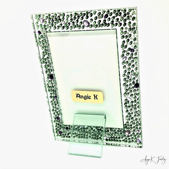 Peridot And Amethyst Gemstone Glass Picture Frame