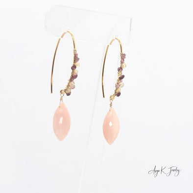 Pink Opal Briolette And Multi Gemstone Gold Earrings