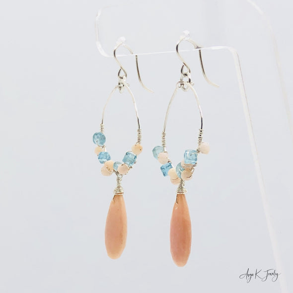 Pink Opal And Apatite Gemstone Silver Hoop Earrings