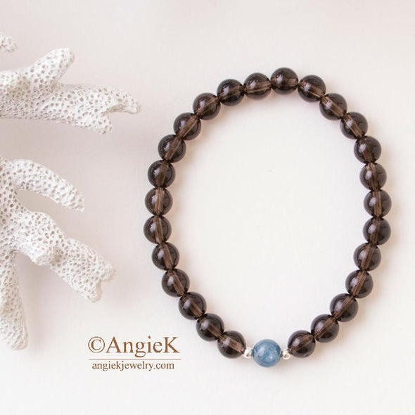 Smoky Quartz and Kyanite Unisex Stretch Bracelet