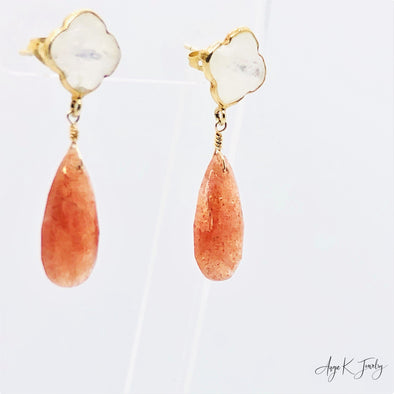 Sunstone Pear Briolette And Moonstone Clover Gold Stud Gemstone Earrings