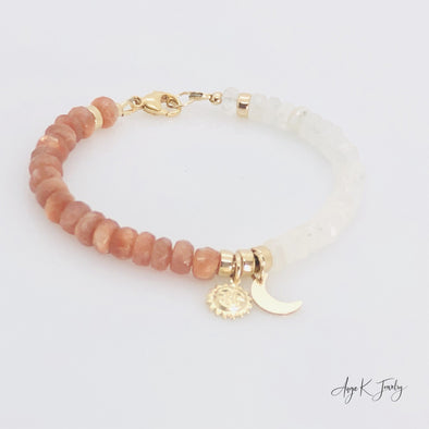 Sunstone And Moonstone14KT Gold Filled Celestial Charm Bracelet