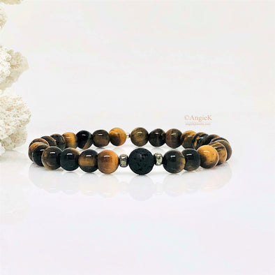 Tiger Eye And Black Lava Rock Stretch Bracelet