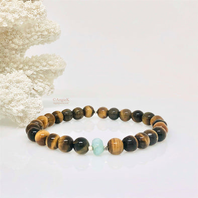 Tiger Eye And Larimar Stretch Bracelet