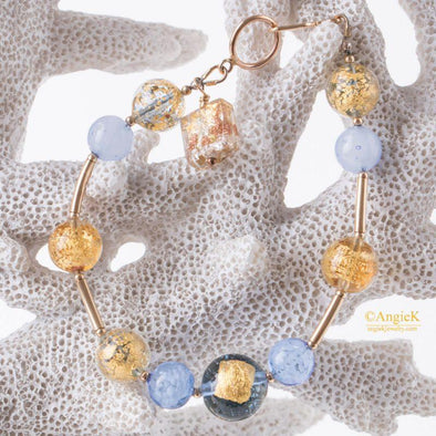 Urora Multi Murano Glass 14KT Gold Filled Charm Bracelet