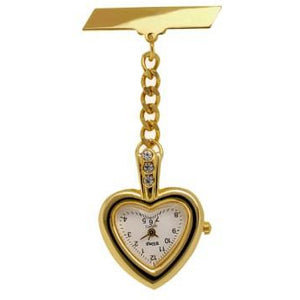 Bling Gold Heart Fob Watch