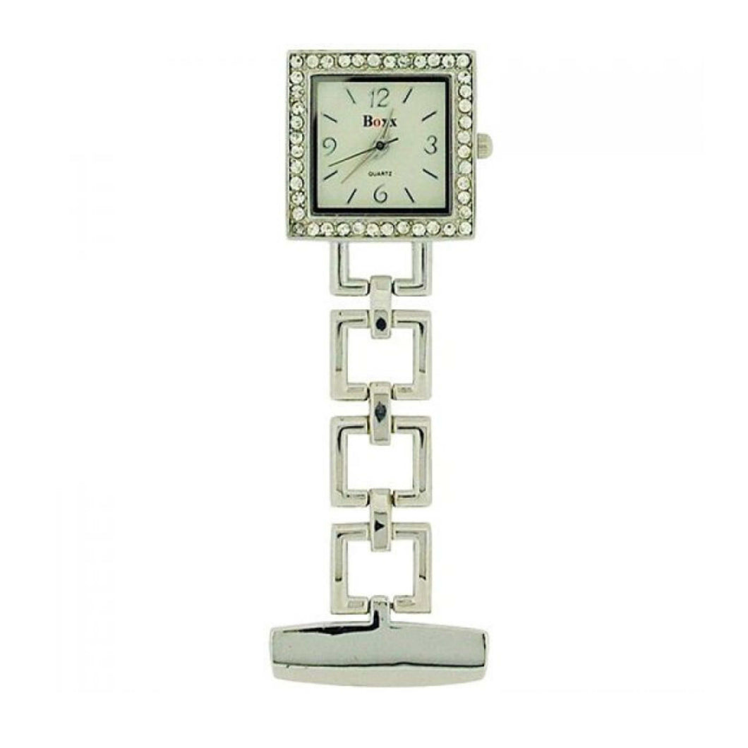 Boxx Silver Square Fob Watch