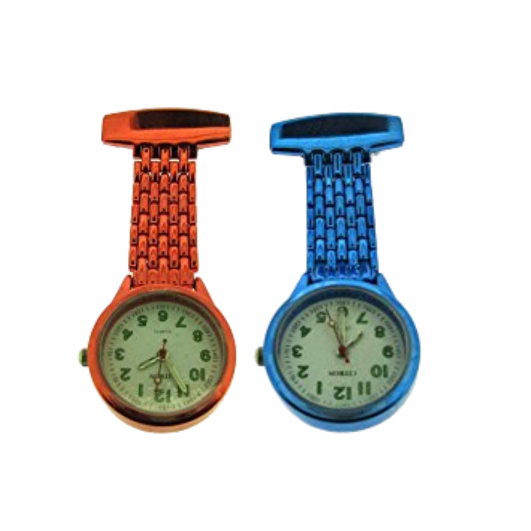 Neon Classic Style Fob Watch in Red and Blue