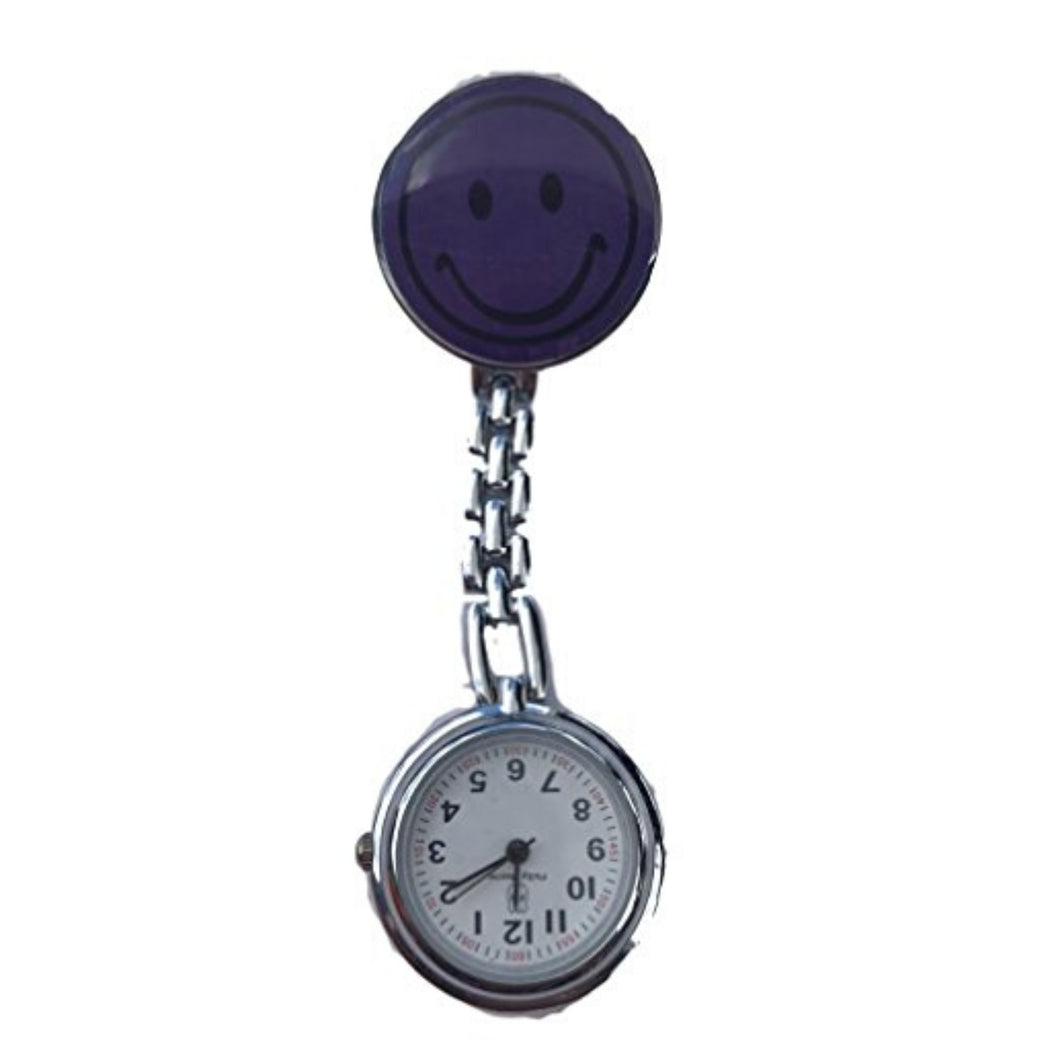 Purple Smiley Face Fob Watch