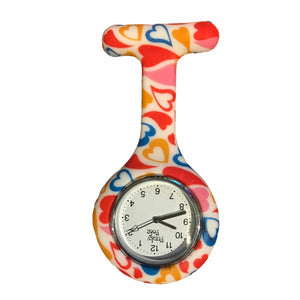 Hearts Pattern Analogue Silicone Fob Watch