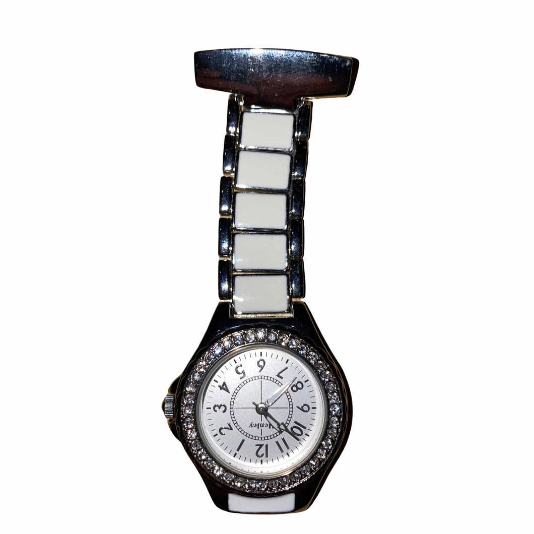 Henley White & Silver Diamonte Fob Watch