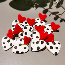 Load image into Gallery viewer, Red, White and Black Polkadot Heart Stud Back Dangle and Drop Earrings