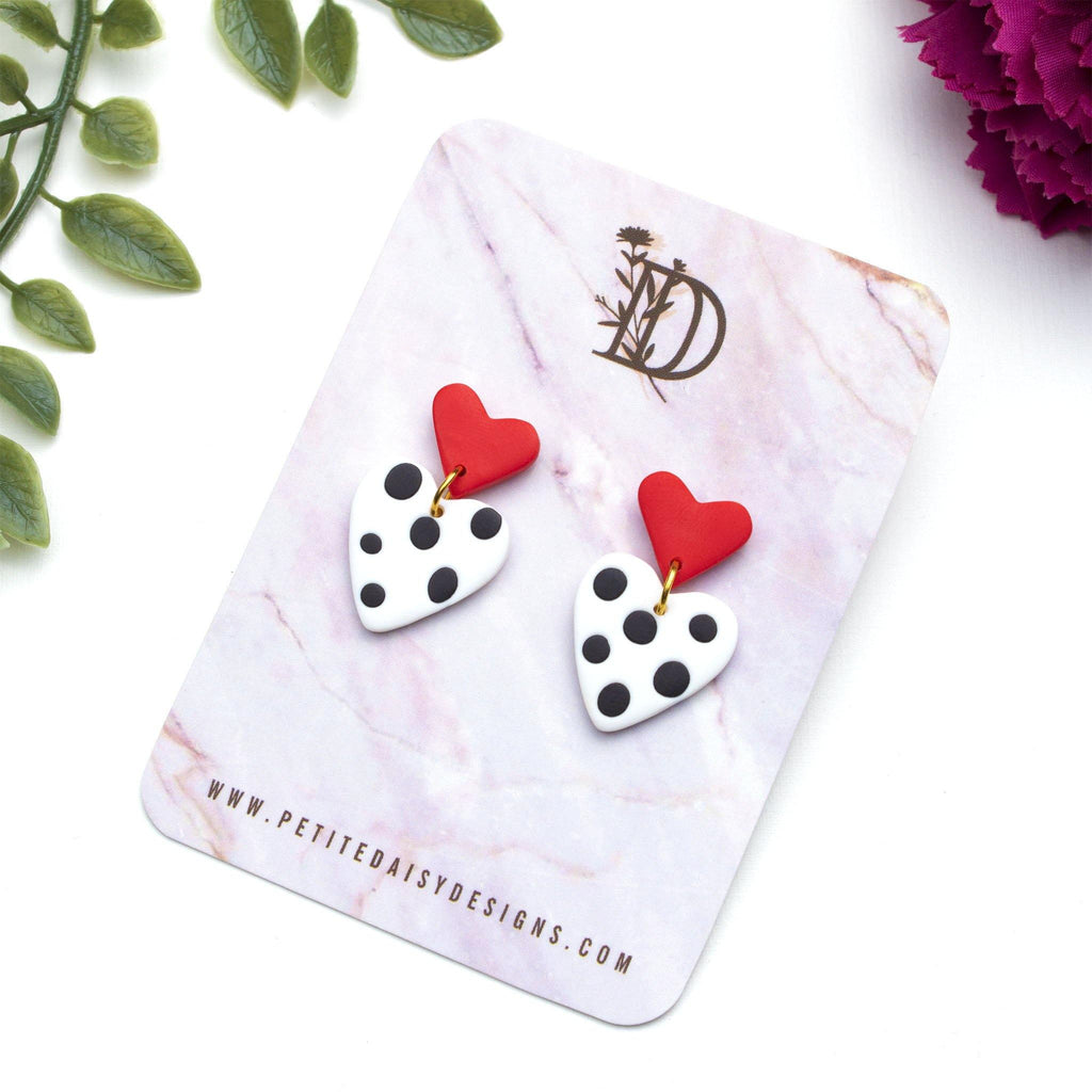 Red, White and Black Polkadot Heart Stud Back Dangle and Drop Earrings