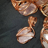 Jewelry- Custom Rose Quartz Copper Wraps