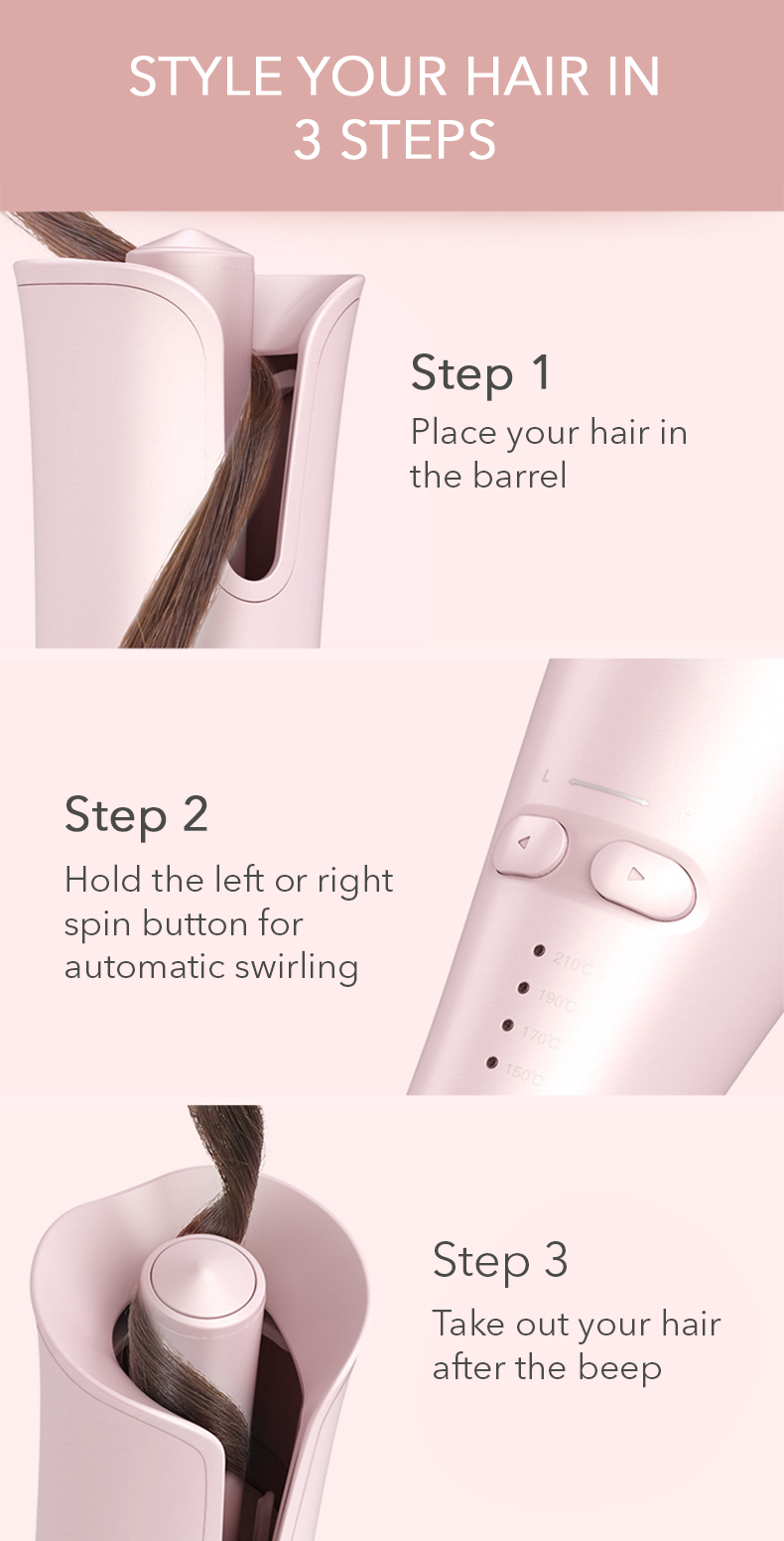 3 simple steps of using Pink Rose Automatic Hair Curler- Pink Remedy