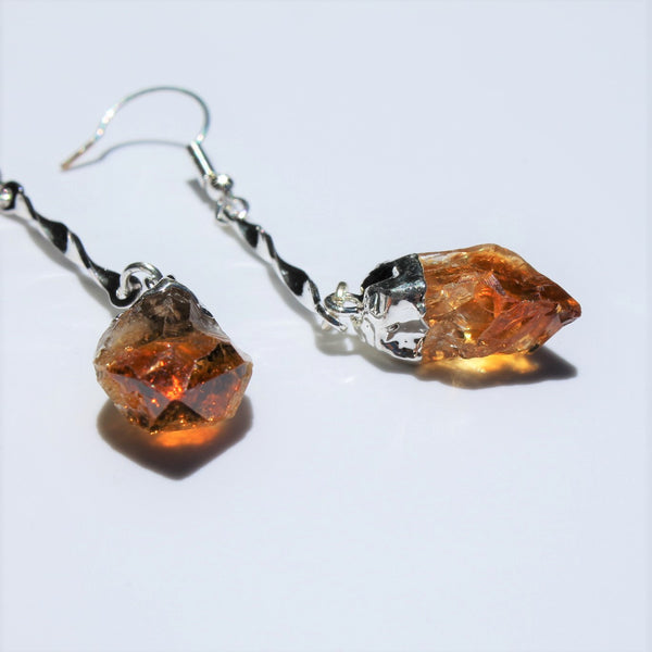 Rough Citrine/Amethyst Long Drop Earring