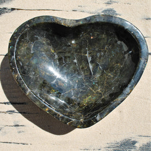 Heart-shaped Labradorite Bowl