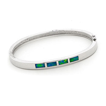 Opal Inlay Silver Bangle
