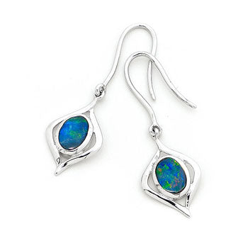 Silver Light Opal Doublet Earring