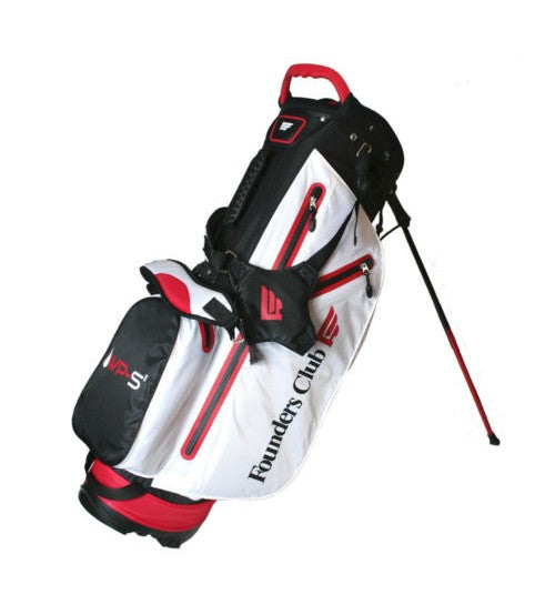 Founders Club Waterproof Golf Stand Bag with 14-Way Top (White/Red)