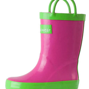 Oaki Pink/Green Loop Handle Rain Boot