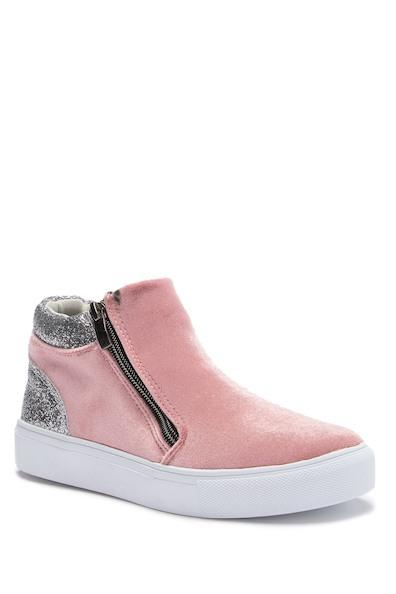 Hoo Pink Velvet High Top Sneaker